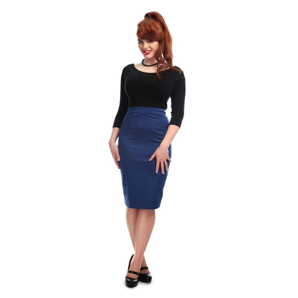 Collectif Polly Classic Cotton Pencil Skirt-Blue-Vendemia