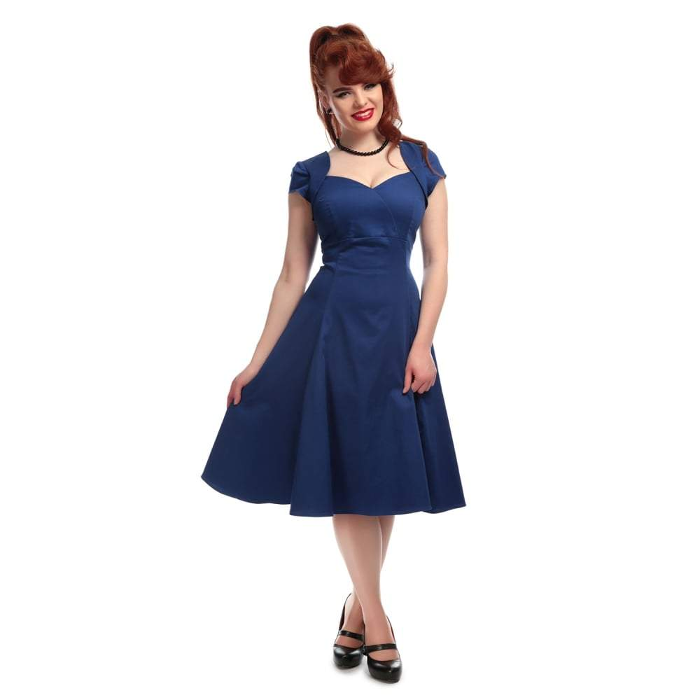 Collectif Regina Plain Doll Dress-Royal Blue-Vendemia