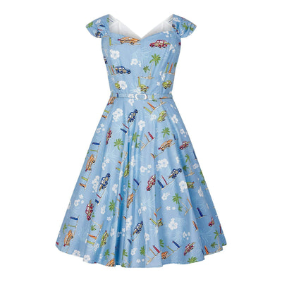 Collectif Sandra Car Swing Dress-Blue-Vendemia