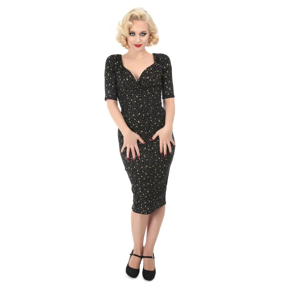 Collectif Trixie Atomic Star Pencil Dress-Black-Vendemia