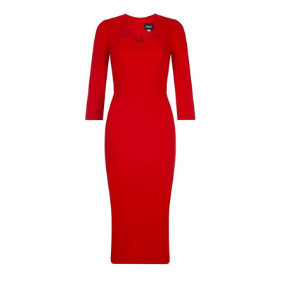 Collectif Vanessa Pencil Dress Red-Vendemia