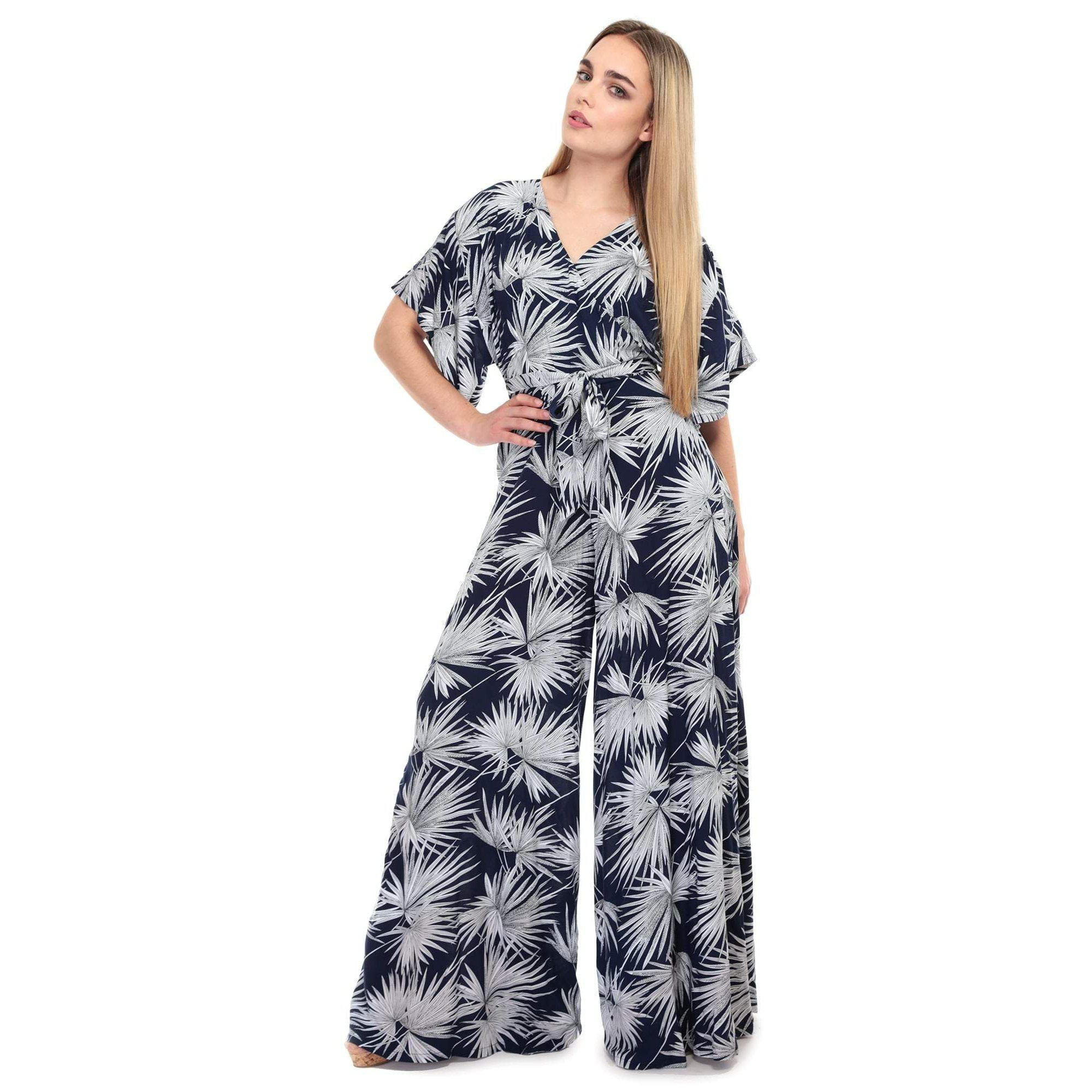 Collectif Vintage Akiko Palm Print Jumpsuit-Navy-Vendemia