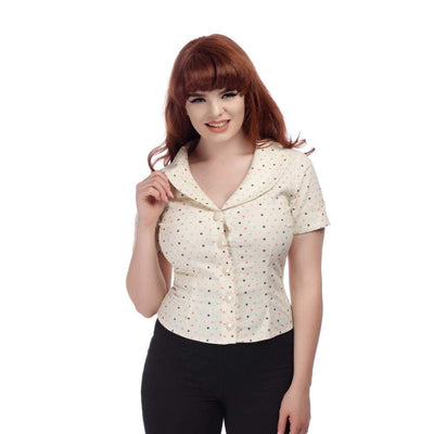 Collectif Vintage Brette Polka Dot Shirt-Cream-Vendemia