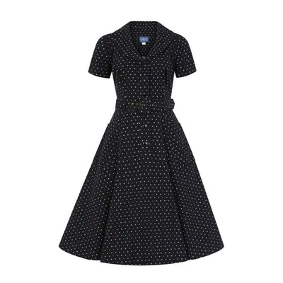 Collectif Vintage Brette Polka Dot Swing dress-Black-Vendemia