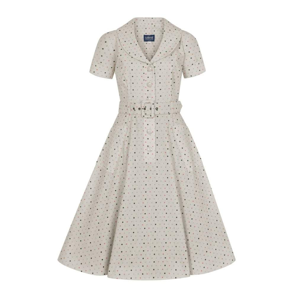 Collectif Vintage Brette Polka Dot Swing dress-Cream-Vendemia