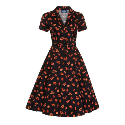 Collectif Vintage Caterina Acorn Swing Dress-Black-Vendemia