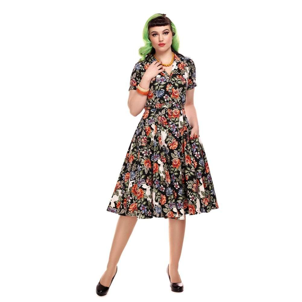 Collectif Vintage Caterina Forest Floral Swing Dress-Vendemia