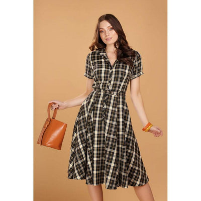 Collectif Vintage Caterina Geek Check Swing Dress-Vendemia