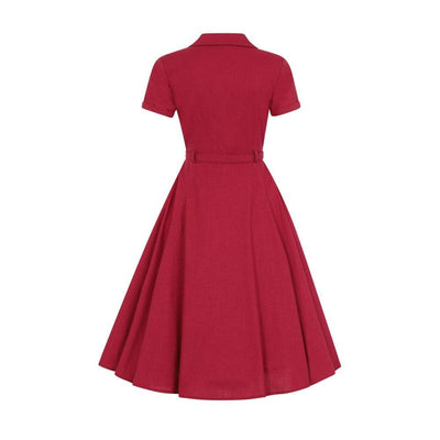 Collectif Vintage Caterina Plain Swing Dress-Vendemia
