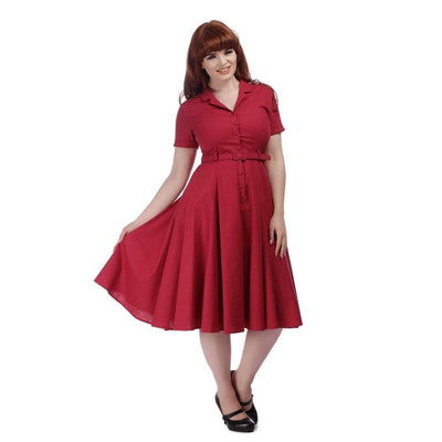 Collectif Vintage Caterina Plain Swing Dress-Raspberry-Vendemia