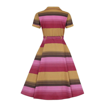 Collectif Vintage Caterina Sunset Stripes Swing Dress-Vendemia