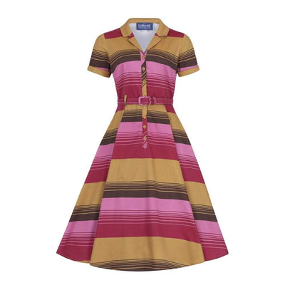 Collectif Vintage Caterina Sunset Stripes Swing Dress-Pink-Vendemia