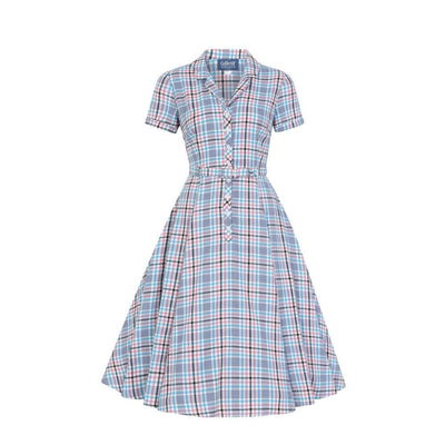 Collectif Vintage Caterina Vintage Check Swing Dress-Multi Coloured-Vendemia