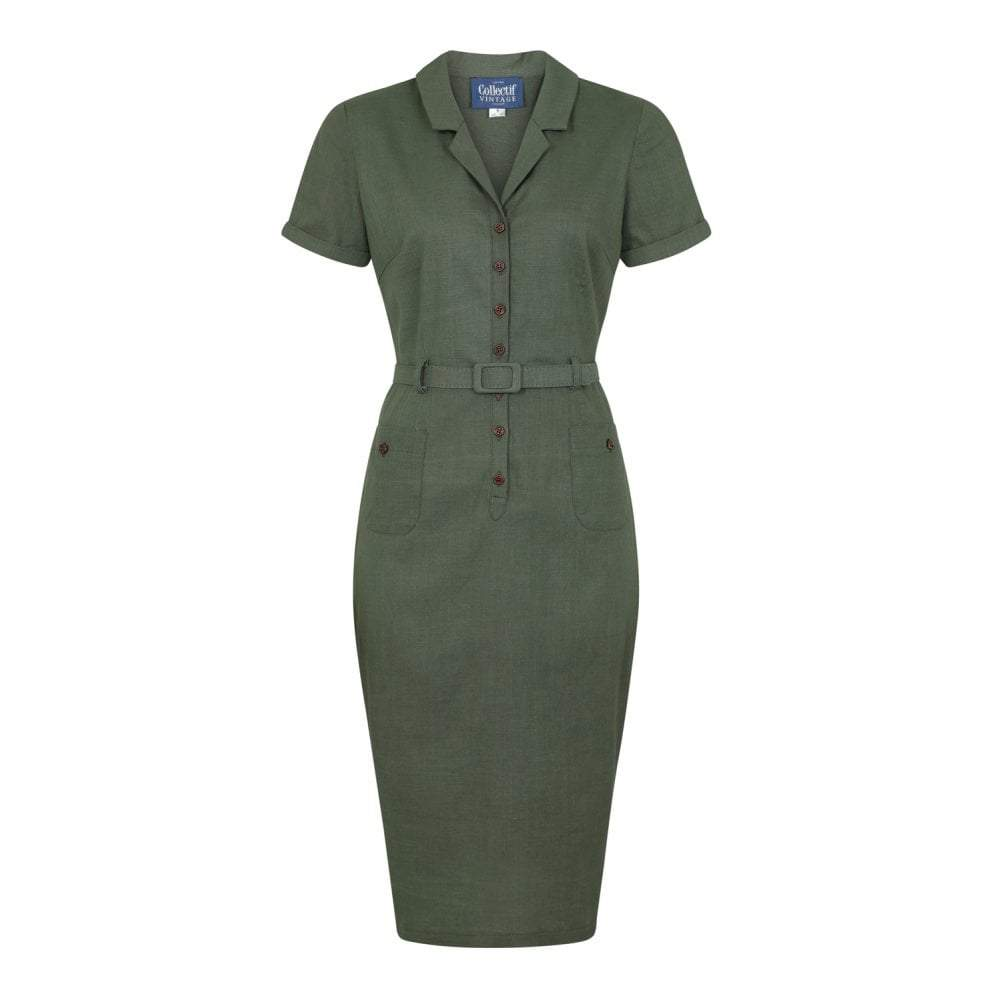 Collectif Vintage Caterina Vintage Pencil Dress-Olive Green-Vendemia
