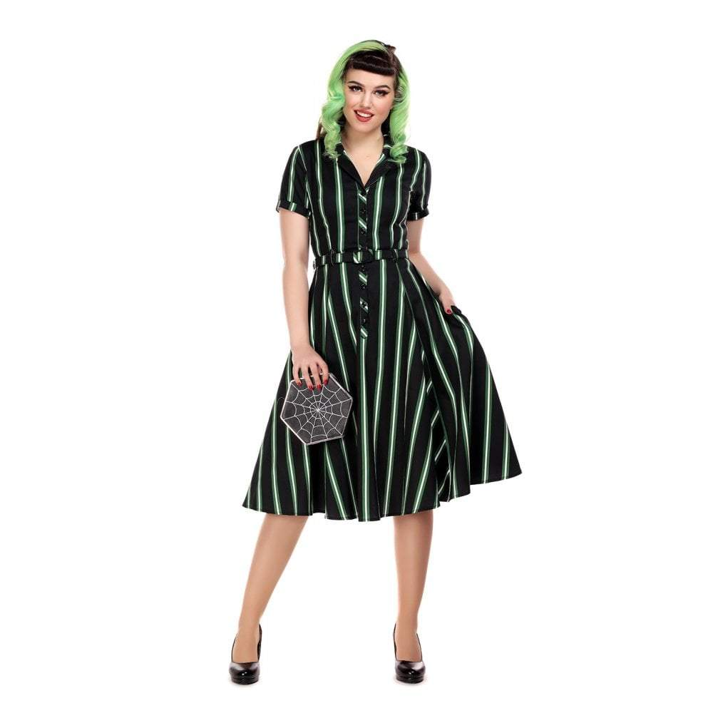 Collectif Vintage Caterina Witch Stripes Swing Dress-Vendemia