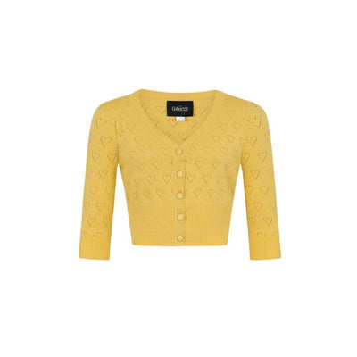 Collectif Vintage Evie Heart Cardigan-Yellow-Vendemia