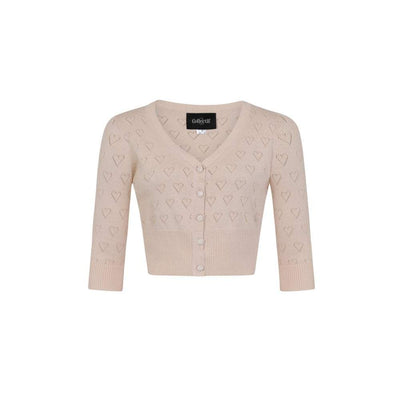 Collectif Vintage Evie Heart Cardigan-Cream-Vendemia
