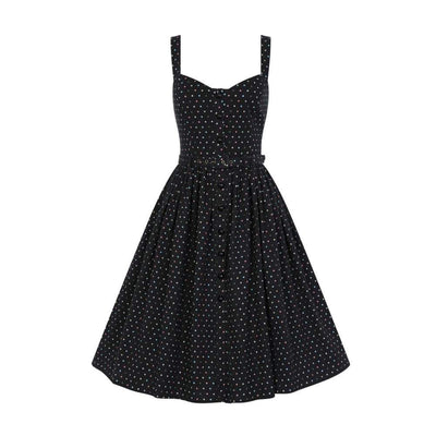 Collectif Vintage Jemima Polka Dot Swing Dress-Black-Vendemia