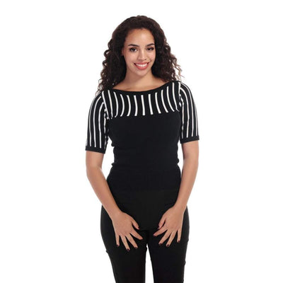 Collectif Vintage Shannon Stripe Knitted Top-Vendemia