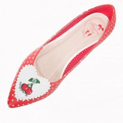 Dancing Days By Banned Apparel Everly Polka Cherry Shoes Red-Red-Vendemia