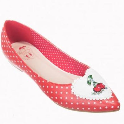 Dancing Days By Banned Apparel Everly Polka Cherry Shoes Red-Vendemia