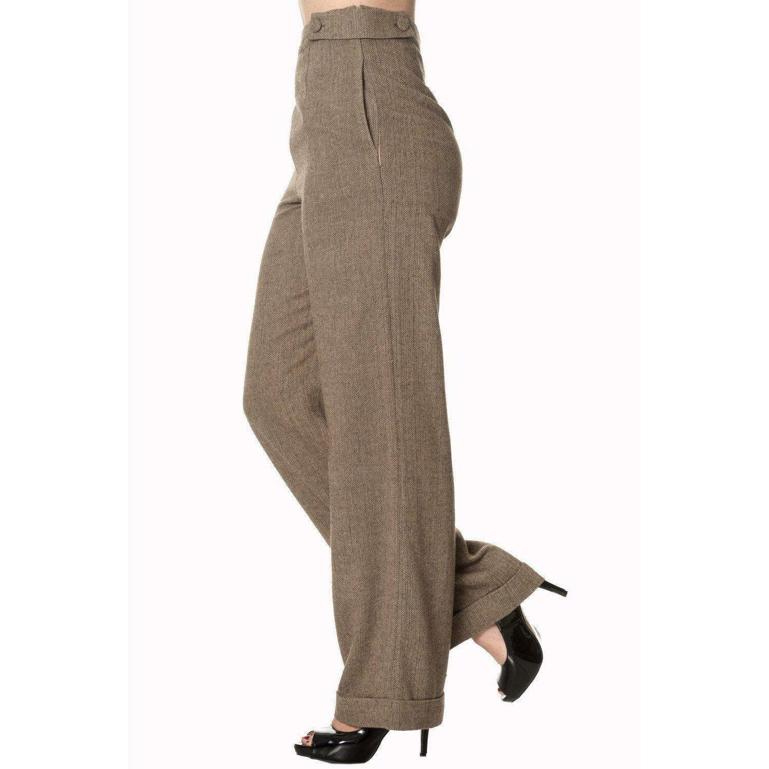 Dancing Days Lady Luck Wide Leg Trousers 40s-Brown-Vendemia