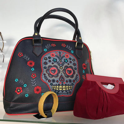 Dancing Days Purple Sugar Skull Handbag-Black-Vendemia