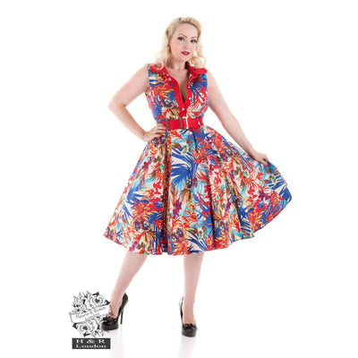 Hearts and Roses Amazon Floral Swing Dress-Red-Vendemia