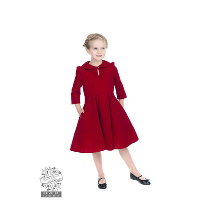 Hearts and Roses Glamorous Velvet Tea Dress Childrens Red-Red-Vendemia
