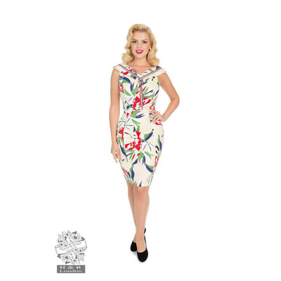 Hearts and Roses Heaps Of Leaves Wiggle Sailor Dress-Vendemia