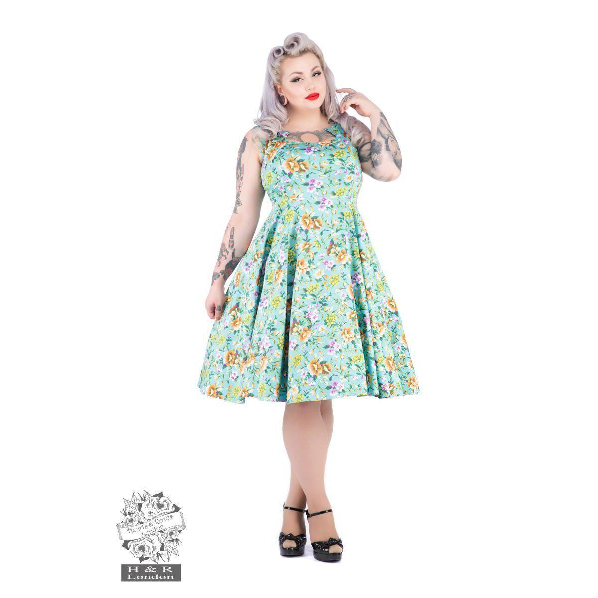 Hearts and Roses Turquoise Ella Floral Swing Dress-Turquoise-Vendemia