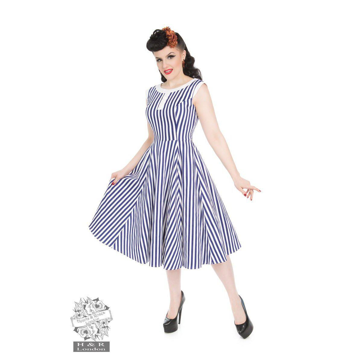 Hearts & Roses Blue Stripe Hepburn Dress-White/Blue-Vendemia