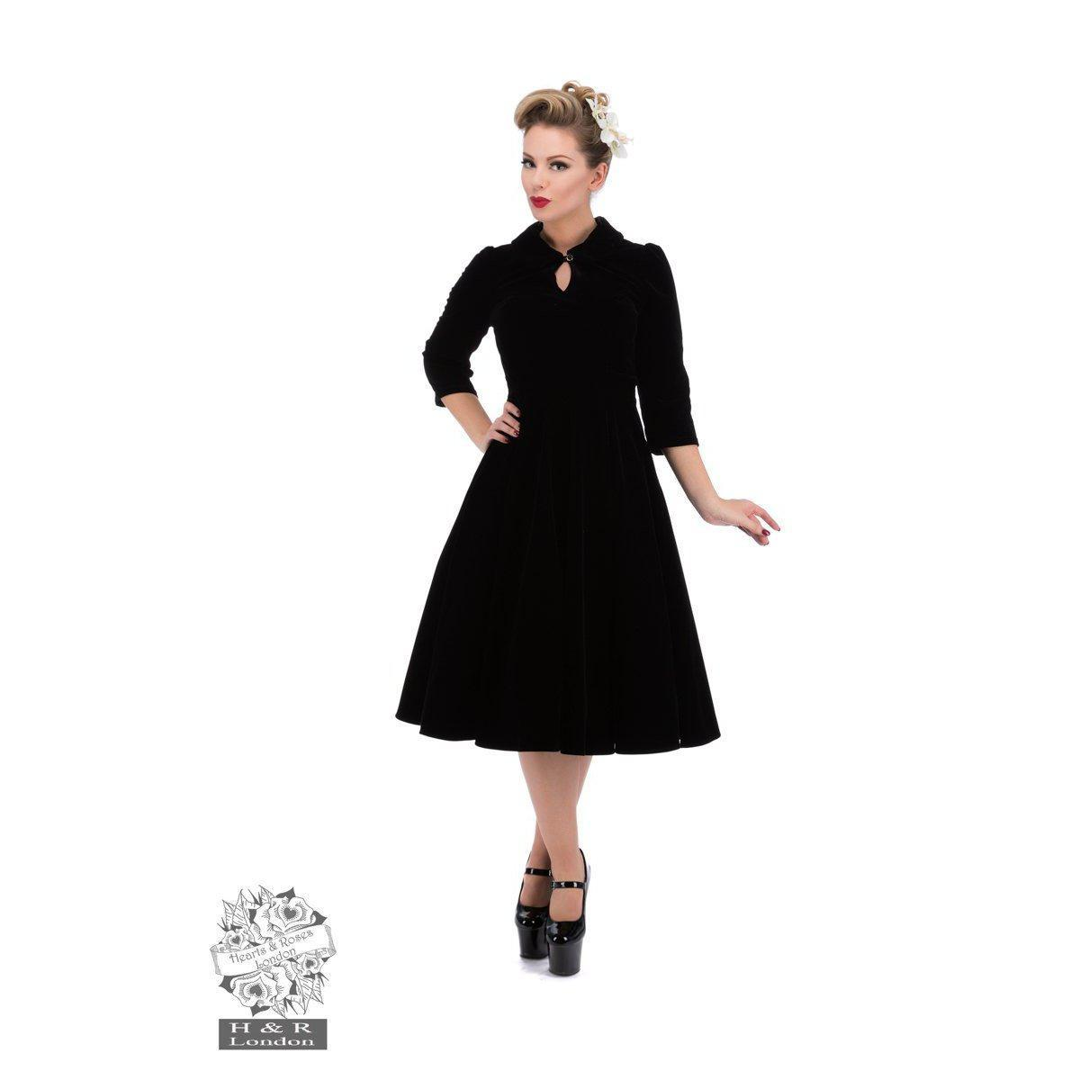 Hearts & Roses Glamorous Velvet Swing Dress In Black-Black-Vendemia