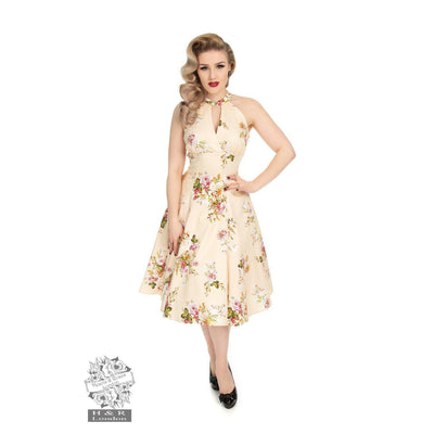 Hearts & Roses Lucinda Floral Swing Dress-Cream-Vendemia