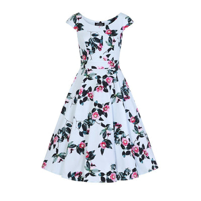 Hearts & Roses Mademoiselle Swing Dress-Pale Blue-Vendemia