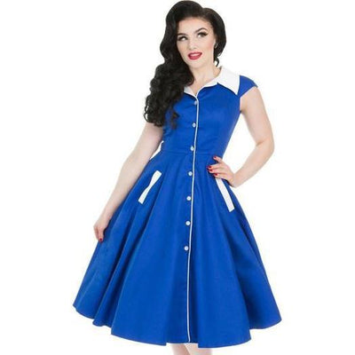 Hearts & Roses Meadow Midnight Blue Swing Dress-Midnight Blue-Vendemia