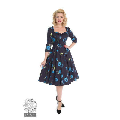 Hearts & Roses Melody Swing Dress Blue Roses-Vendemia
