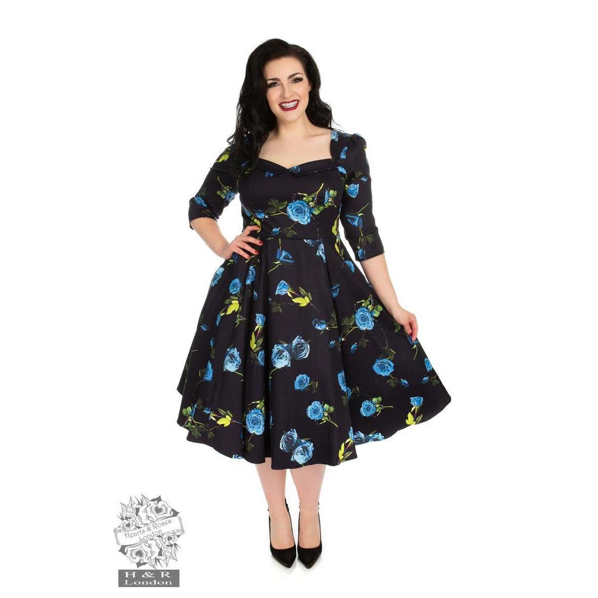 Hearts & Roses Melody Swing Dress Blue Roses-Blue-Vendemia