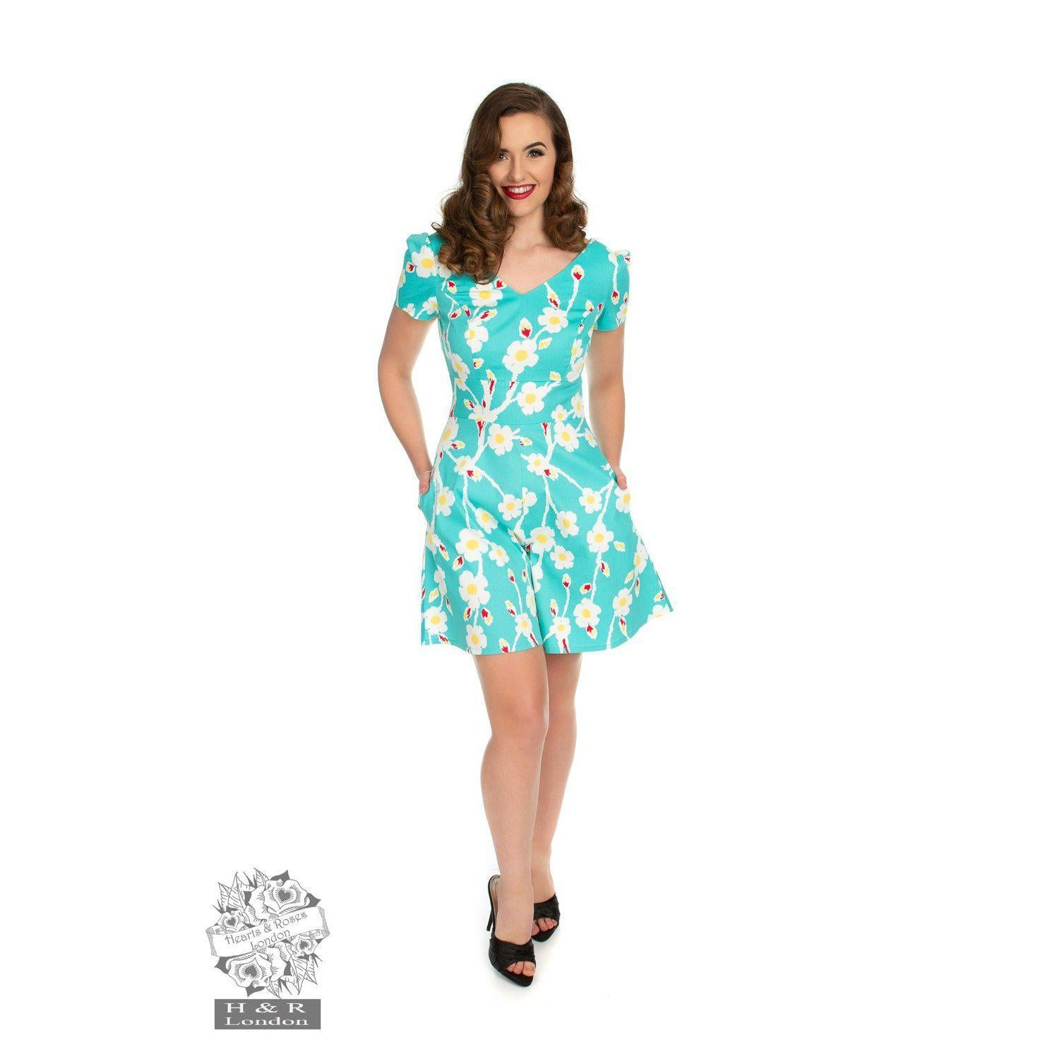 Hearts & Roses Turquoise Floral Playful Playsuit-Vendemia