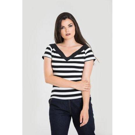 Hell Bunny Caitlin Top Black & White Stripe-Vendemia