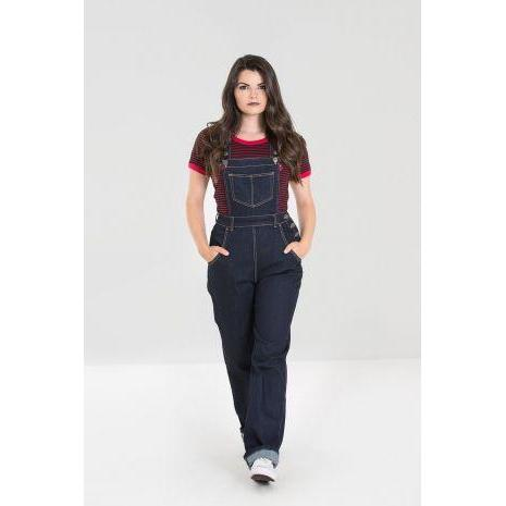 Hell Bunny Elly May Denim Dungaree-Navy-Vendemia