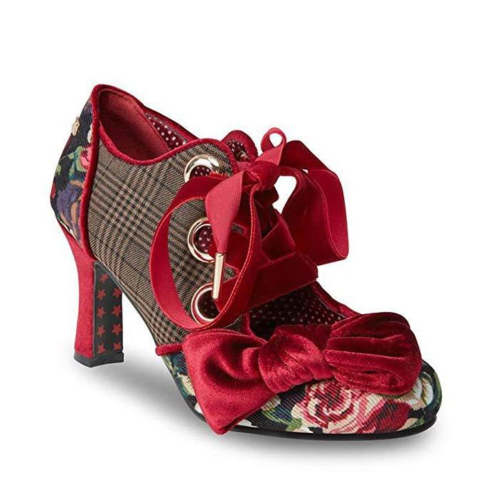 Joe Browns Couture Ruby Shoes Checked-Burgundy-Vendemia