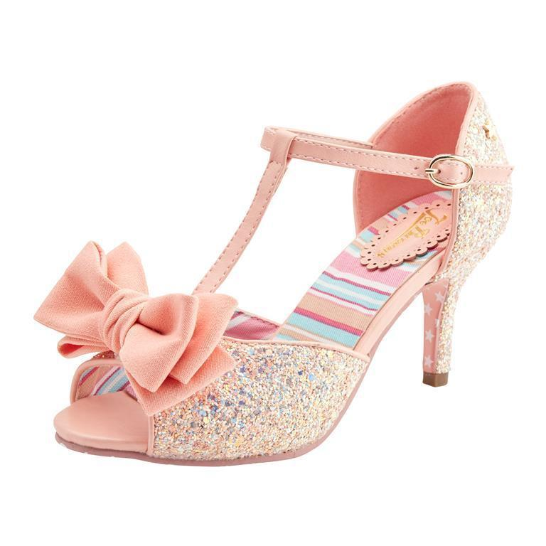 Joe Browns Couture Sugar and Spice Shoes Peach Glitter-Peach-Vendemia