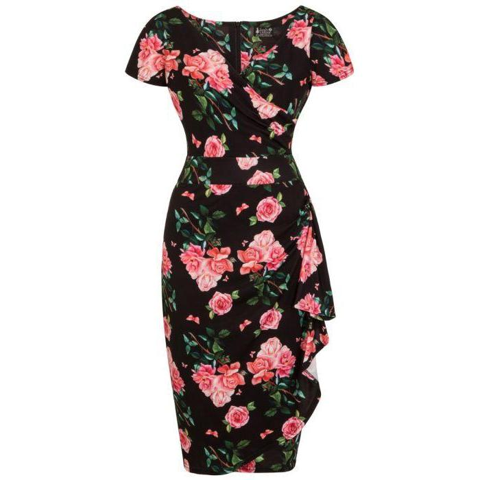 Lady Vintage Elsie Dress Beautiful Roses-Black-Vendemia