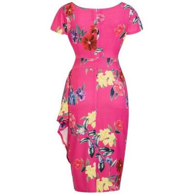 Lady Vintage Elsie Dress Fuchsia Floral-Vendemia