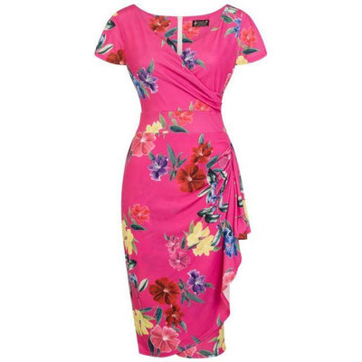 Lady Vintage Elsie Dress Fuchsia Floral-Pink-Vendemia