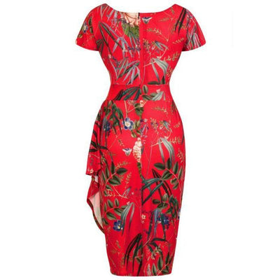 Lady Vintage Elsie Dress Oriental Expression-Red-Vendemia