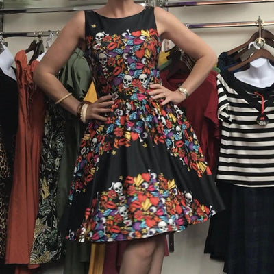 Lady Vintage Halloween Skull & Roses Tea Dress-Vendemia