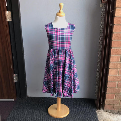 "Lady Vintage ""Little Vintage"" Swing Dress Purple and Pink Tartan-Pink-Vendemia"