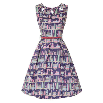 Lindy Bop Lily Purple Baking Bookcase Print Swing Dress-Purple-Vendemia
